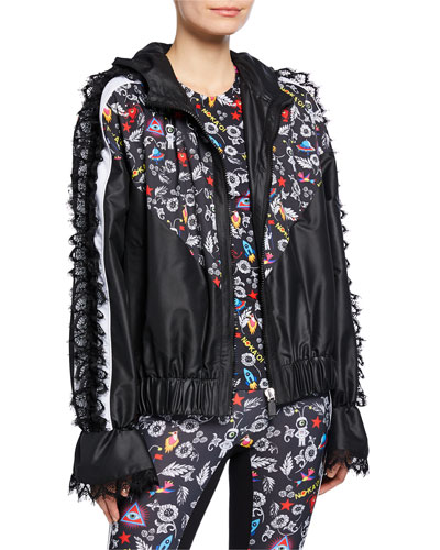 Knockout Printed Track Jacket with Lace