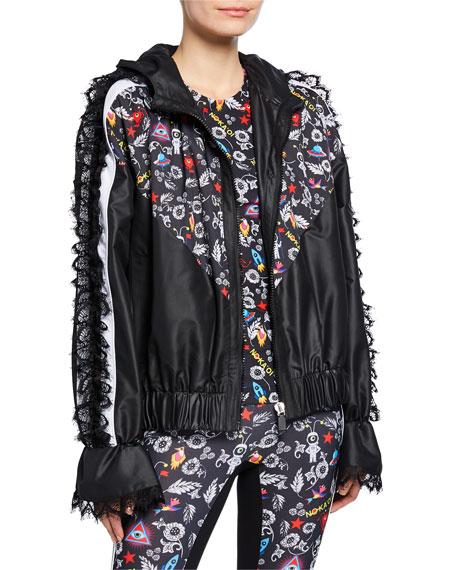 No Ka Oi Knockout Printed Track Jacket with Lace
