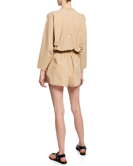 A.L.C. Penelope Button-Front Long-Sleeve Belted Romper