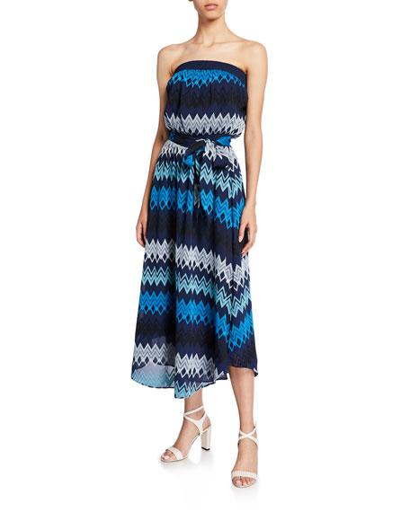 Ramy Brook Sylvia Self-Tie Strapless Midi Dress
