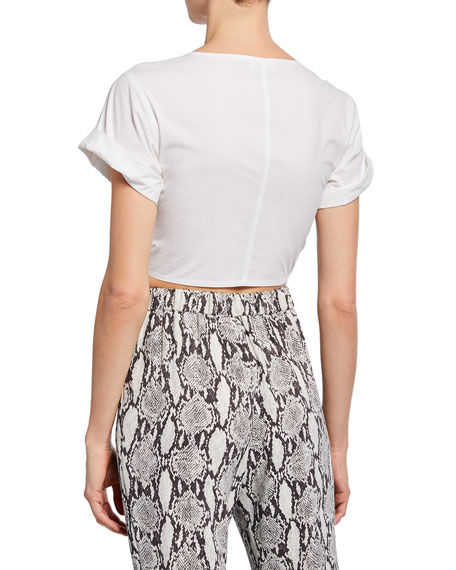 A.L.C. Levine Short-Sleeve Tie-Front Crop Top