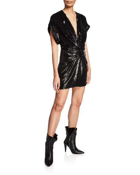 Iro Lilou Sequin V-Neck Short-Sleeve Dress