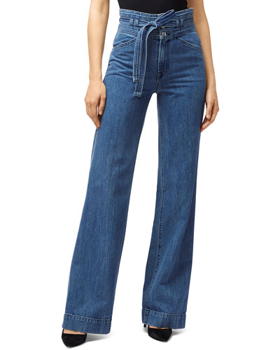 Sukey Belted High-Waist Denim Pants