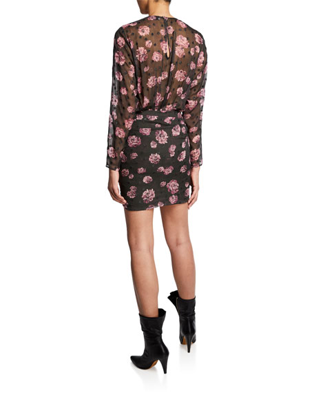 Image 2 of 2: Iro Adelino Dotted Floral Long-Sleeve Mini Dress