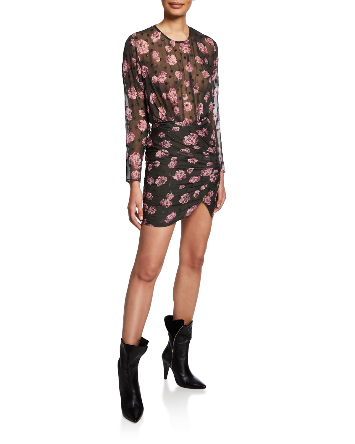 Iro Adelino Dotted Floral Long-Sleeve Mini Dress