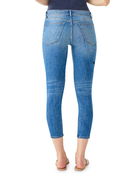 DL1961 Premium Denim Florence Ankle Mid-Rise Skinny Jeans with Stars