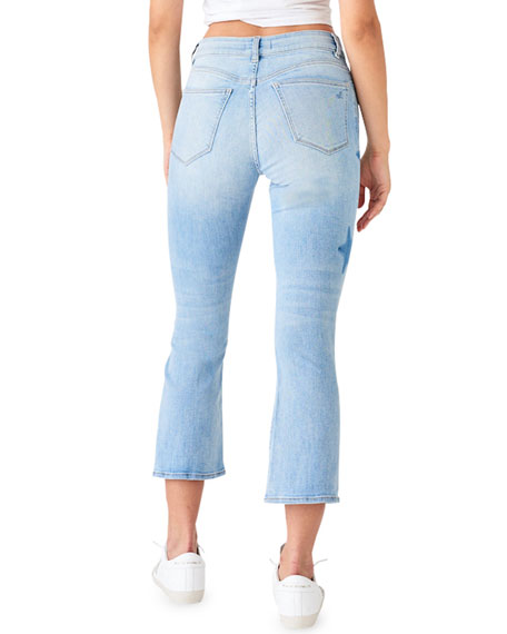 DL1961 Premium Denim Bridget Crop Skinny Boot-Cut Jeans with Stars