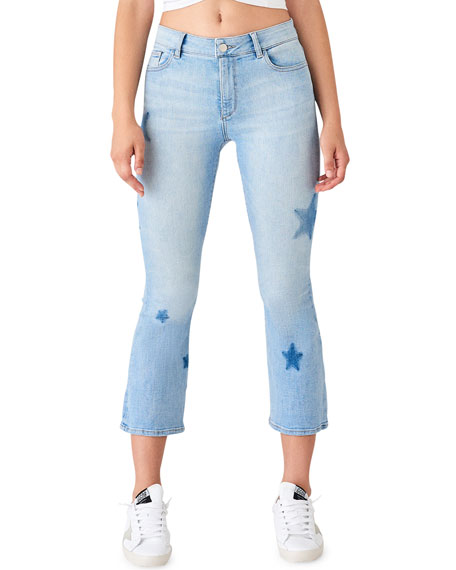 Image 1 of 2: Bridget Crop Skinny Boot-Cut Jeans with Stars
