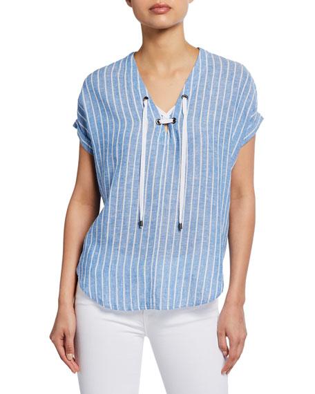 Rails Jeri Striped Lace-Up Short-Sleeve Top