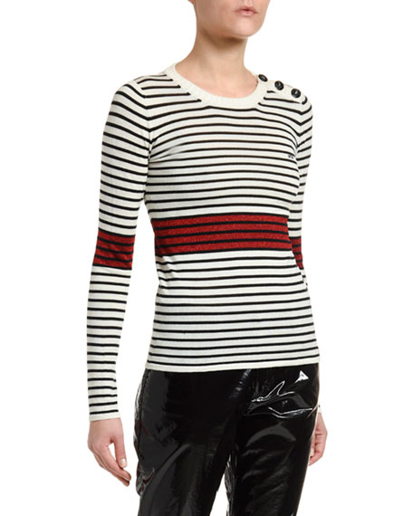 No. 21 Striped Long-Sleeve Top with Button Details