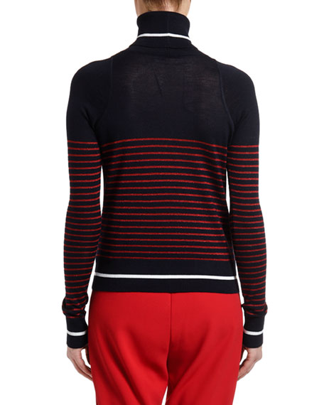 No. 21 Striped Fitted Turtleneck Sweater