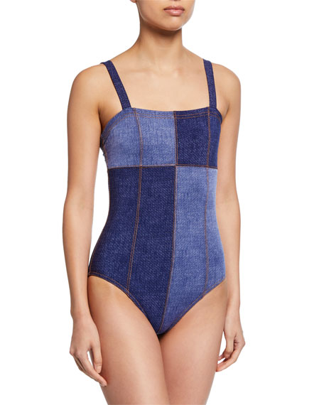 Karla Colletto Louise Patchwork Bandeau One-Piece Swimsuit