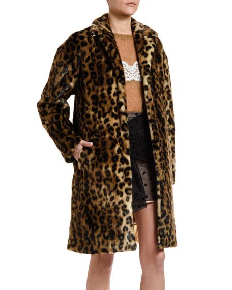No. 21 Leopard-Print Faux-Fur Coat