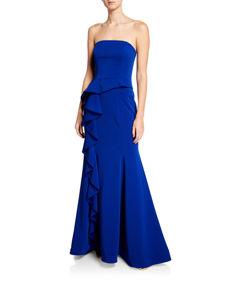 Jovani Strapless Bustier Scuba Gown w/ Asymmetric Ruffle Detail