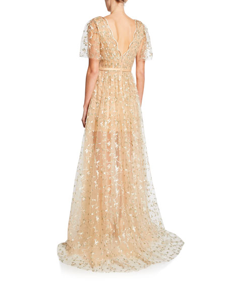 Jovani V-Neck Short-Sleeve Embroidered Tulle Illusion Gown