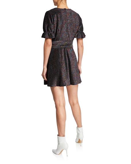 Elliatt Millenia Metallic Short-Sleeve Mini Dress with Bow