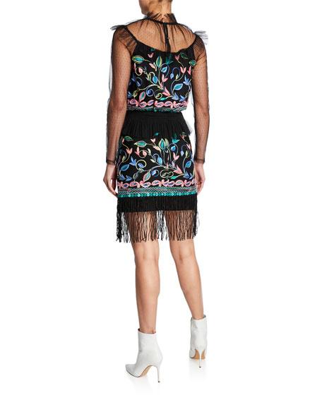 Elliatt Amelie Two-Piece Embroidered Long-Sleeve Top & Skirt Set