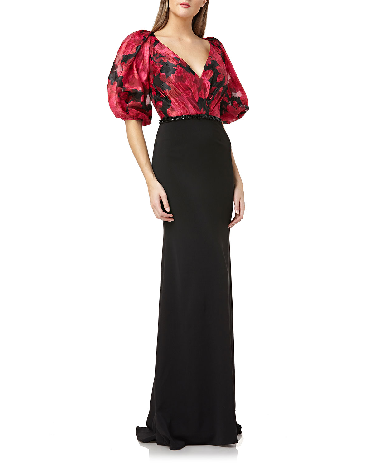 c27480c3a5f Carmen Marc Valvo Infusion Printed-Bodice Puff-Sleeve V-Neck Gown with Crepe