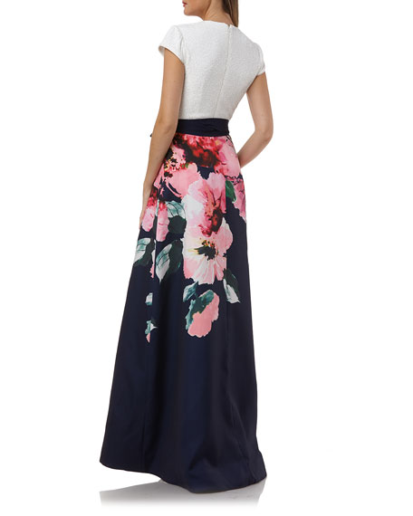 Carmen Marc Valvo Infusion Sequin-Bodice Cap-Sleeve Gown w/ Floral-Print Skirt