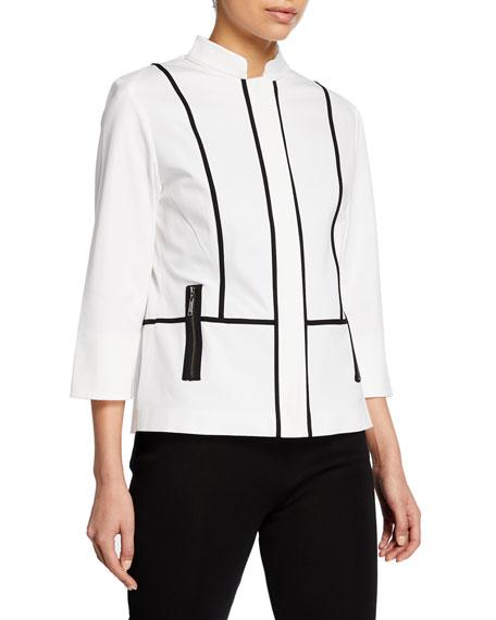 Misook Contrast Piped Zip-Front 3/4-Sleeve Jacket