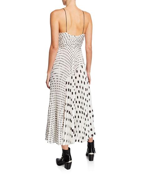 Jill Jill Stuart Mixed Polka Dot Print Sleeveless Satin Charmeuse Dress