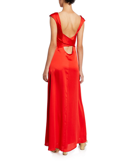 Fame and Partners Bateau-Neck Cap-Sleeve Back-Wrap Matte Satin Gown