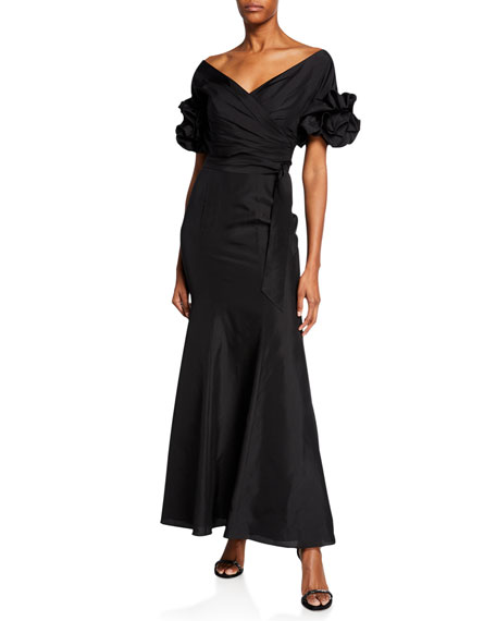 Fame and Partners Two-Piece Wrap Top Set w/ Strapless Sweetheart Gown