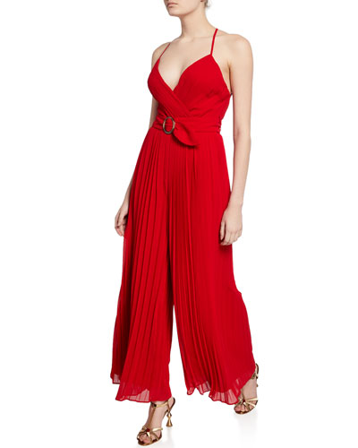 O-Ring Pleated Wide-Leg Halter Jumpsuit