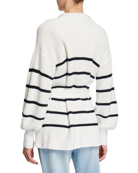 FRAME Striped Bishop-Sleeve Chunky Wrap Sweater