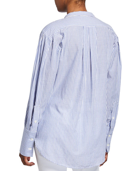 FRAME Pleated Clean-Collared Striped Shirt