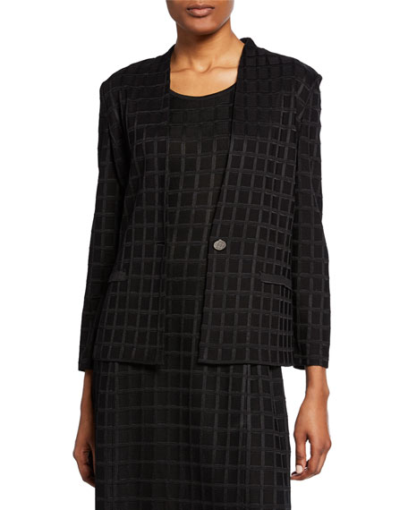 Misook Grid Textured One-Button Jacket