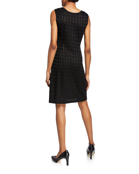 Misook Grid Textured Sleeveless Dress