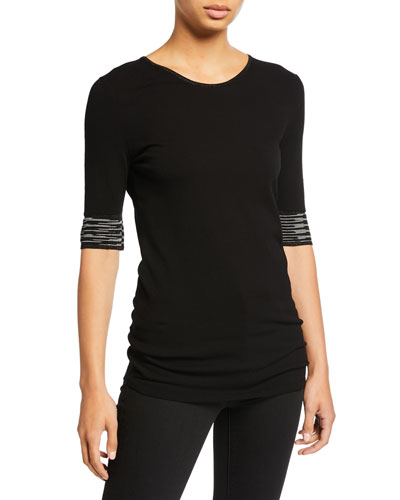 Crewneck Elbow-Sleeve Tee w/ Sleeve Trim