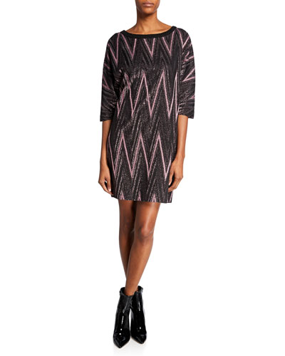 Metallic Zigzag Elbow-Sleeve Mini Shift Dress