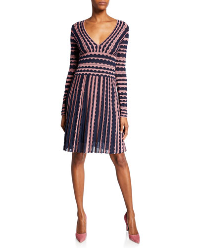 Striped V-Neck Long-Sleeve Fit-&-Flare Dress