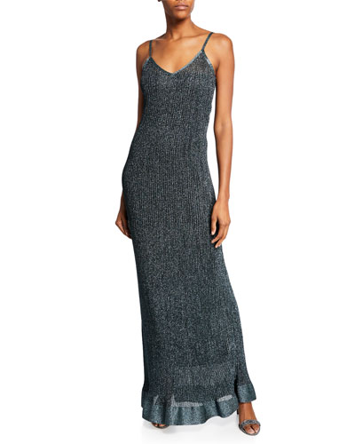 Metallic V-Neck Long Slip Dress