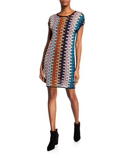 Multicolor Cap-Sleeve Mini Shift Dress