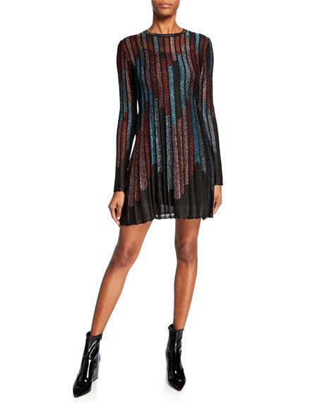 M Missoni Metallic Striped Long-Sleeve Mini Dress