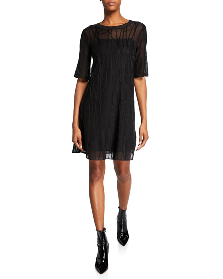 M Missoni Branch-Stitch Crewneck Elbow-Sleeve Shift Dress