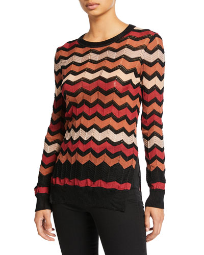 Zigzag Stitched Crewneck Long-Sleeve Top