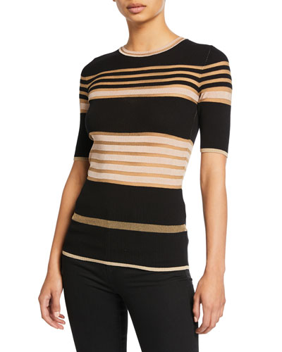 Sheer Striped Crewneck Short-Sleeve Tee
