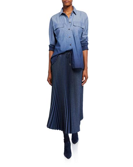 Lafayette 148 New York Gwenda Micro Pleating Drawstring Midi Skirt