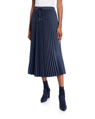 Gwenda Micro Pleating Drawstring Midi Skirt