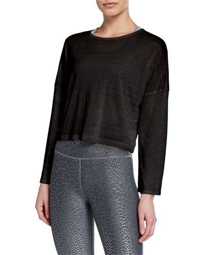 Off Cuff Perforated Long-Sleeve Cropped Pullover
