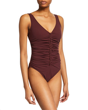 5df3e00af9f Karla Colletto Joana V-Neck One-Piece Swimsuit