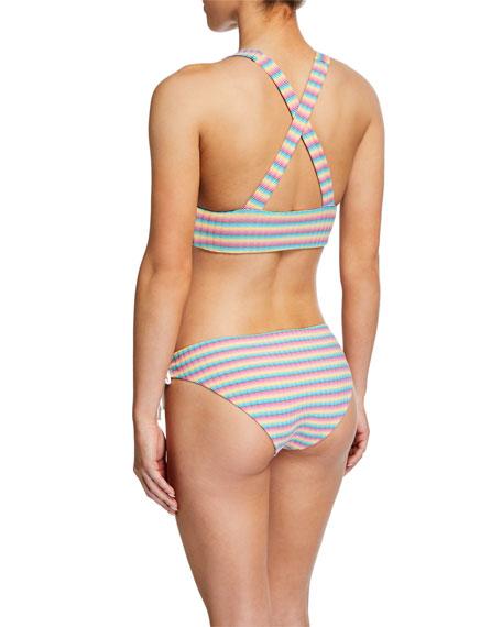 Onia Erica Striped Lace-Up Bikini Bottom