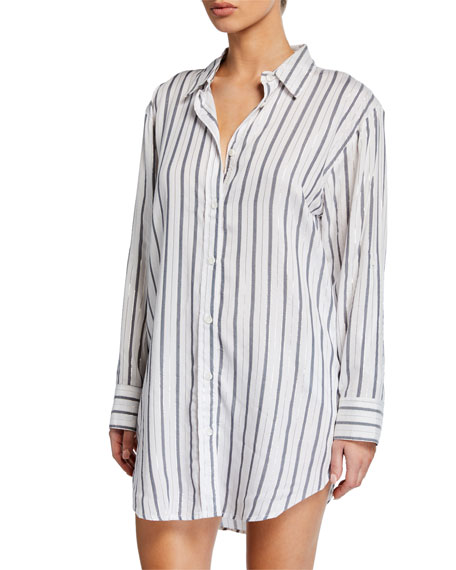 Onia Marie Striped Coverup Shirtdress with Pockets
