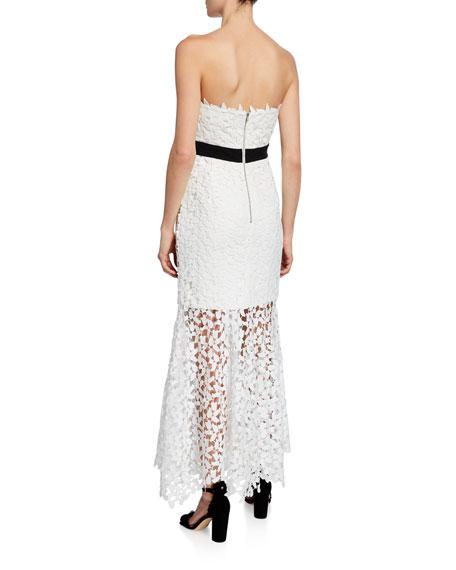 Bardot Midi Lace Strapless Bow Dress