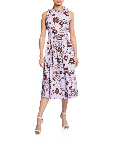 kate spade new york floral-print sleeveless belted midi racerback dress