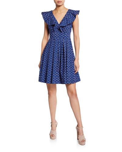 328b9b6df9ad geo dot v-neck sleeveless poplin dress
